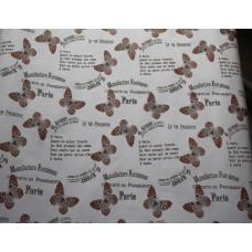 """Бумага Крафт белая """"Бабочки"""" оранжевый, 70 см, 400гр, 70г/м2"""