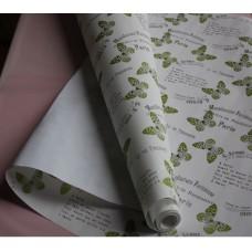"""Бумага Крафт белая """"Бабочки"""" зелёный, 70 см, 400гр, 70г/м2"""