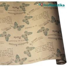 "Бумага Крафт ""Бабочки"" зелёный, 70 см, 400гр, 70г/м2"