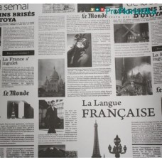 "Бумага Крафт белая с рисунком ""Франция"", 70 см, 400гр, 70г/м2"