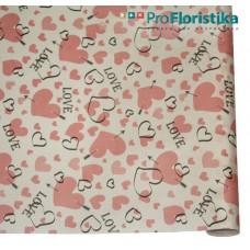 """Бумага Крафт белая с рисунком """"Красные сердечки"""", 70 см, 400гр, 70г/м2"""