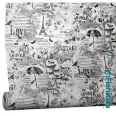 """Бумага Крафт белая с рисунком """"Париж"""", 70 см, 400гр, 70г/м2"""