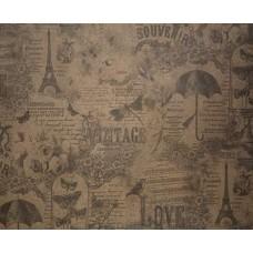 "Бумага Крафт с рисунком ""Париж"", 70 см, 400гр, 70г/м2"