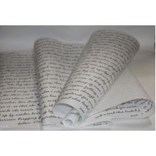 "Бумага Крафт белая с рисунком ""Письмо"" чёрный, 70 см, 400гр, 70г/м2"