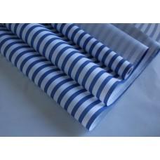 "Бумага Крафт белая ""Полосы"" синий, 70 см, 400гр, 70г/м2"