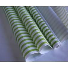 """Бумага Крафт белая """"Полосы"""" зелёный, 70 см, 400гр, 70г/м2"""