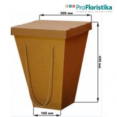 Коробка для цветов крафт, с крышкой, 160 х 300 х 430 см