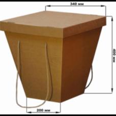Коробка-переноска для цветов крафт, с крышкой, 200 х 340 х 405 см