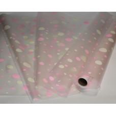 Пленка двусторонне-матовая кружки розовый-салатовый, 60см, 200гр, 40мкм (с втулкой)
