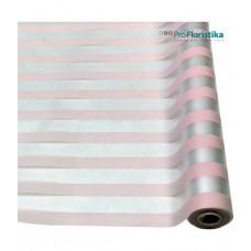 Матовая пленка с горизонтальной полосой розовая, 70см, 200гр, 40мкм (без втулки)