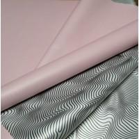 Плёнка кальцинированная жемчужная двусторонняя 3D жатка чёрный/светло-розовый, 60см, 300гр, 50мкм (002/Р217с)