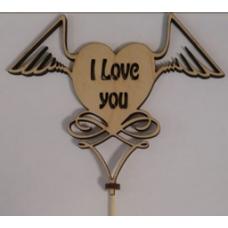 "Топпер I love you ""с крылышками"""