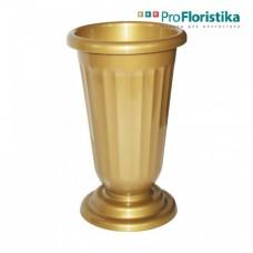 Ваза для цветов 36 см золотая